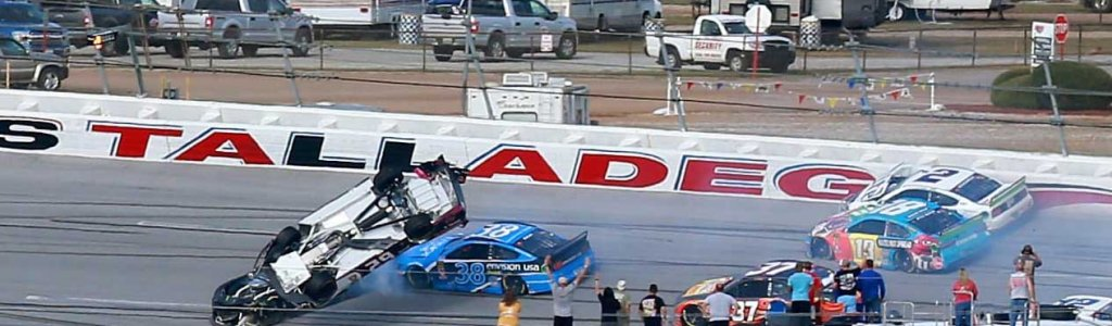 Big crash at Talladega Superspeedway in NASCAR race; Gaughan barrel rolls at 200mph (Video)
