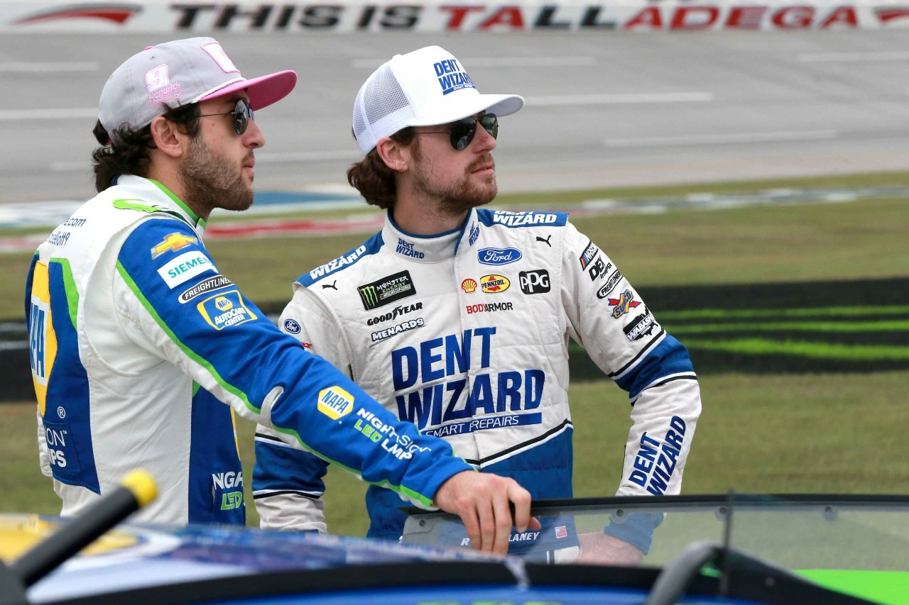 Chase Elliott and Ryan Blaney at Talladega Superspeedway - NASCAR drivers