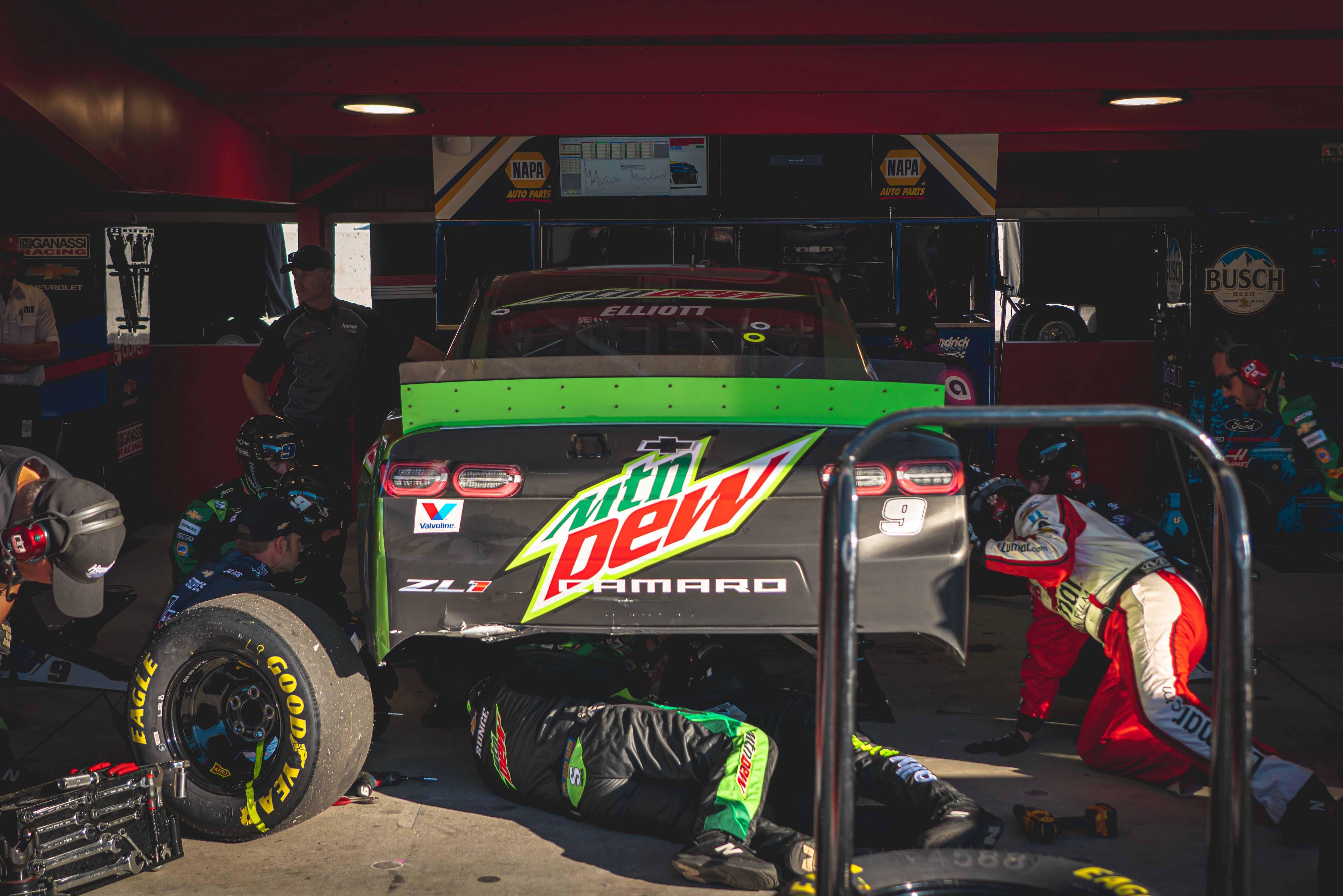 Chase Elliott in the NASCAR garage area at Martinsville Speedway