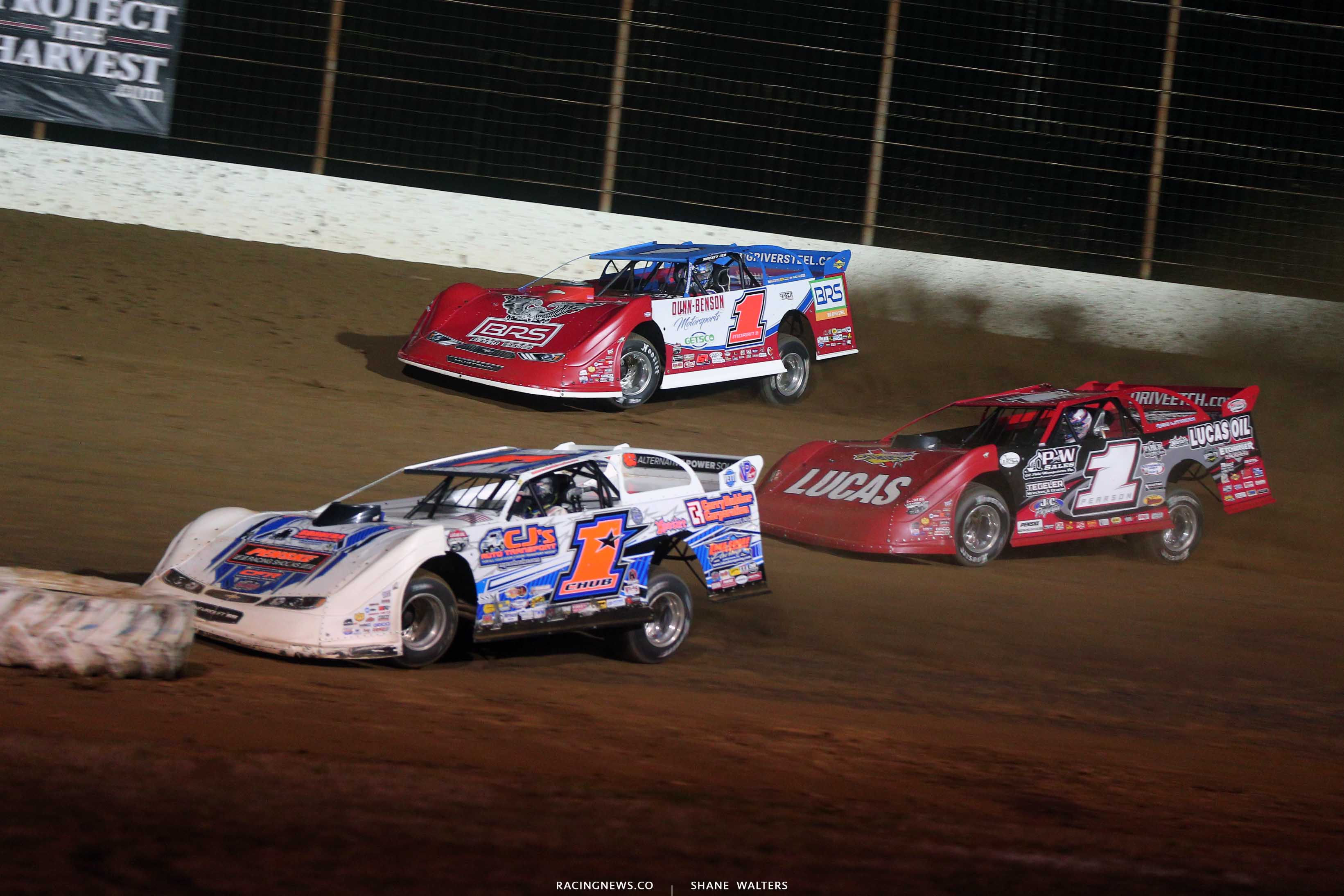 Chub Frank, Devin Moran and Earl Pearson Jr in the Dirt Track World Championship - Lucas Oil Late Model Dirt Series 9047