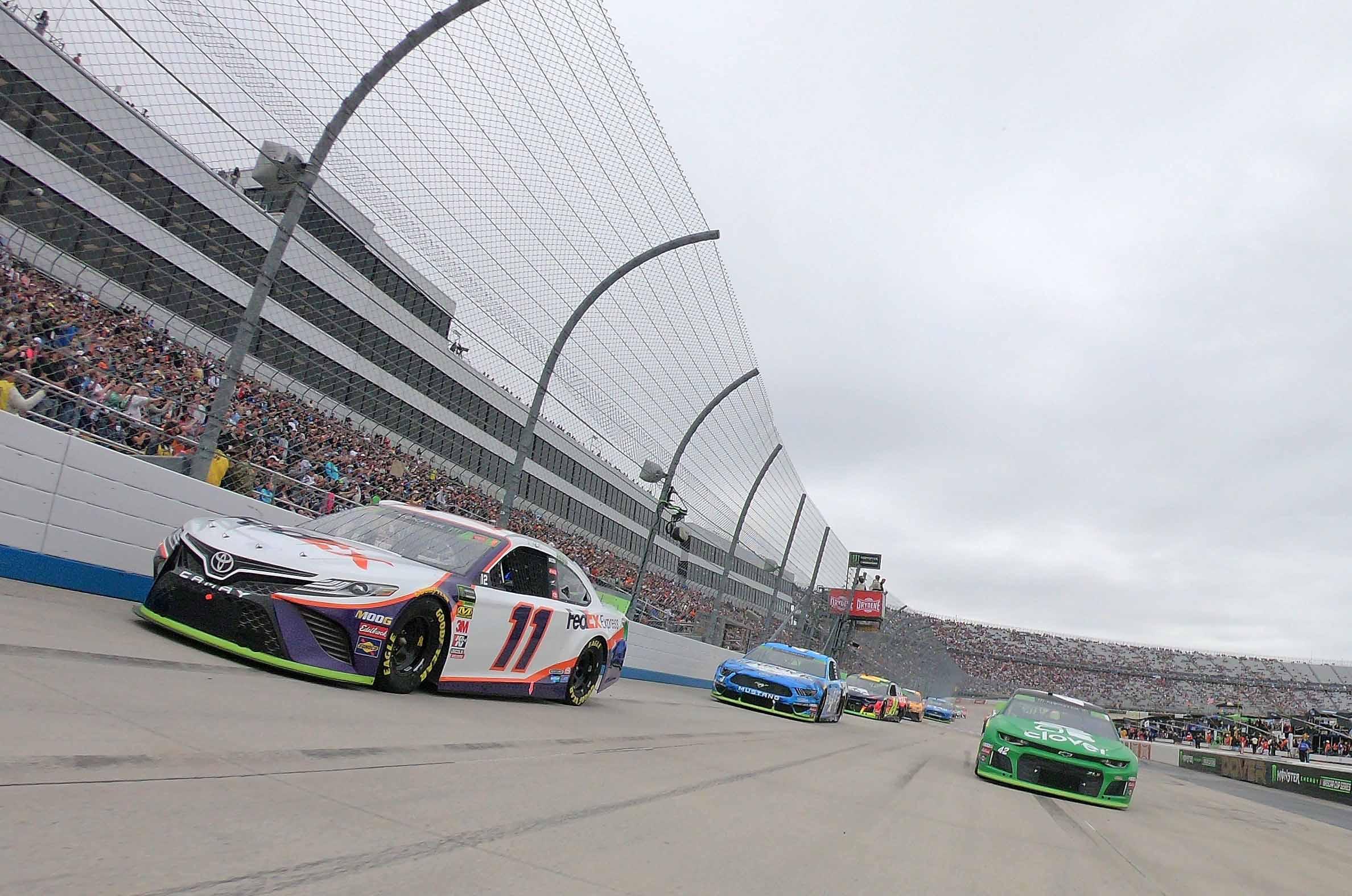Denny Hamlin, Kyle Larson and Kevin Harvick at Dover International Speedway - NASCAR