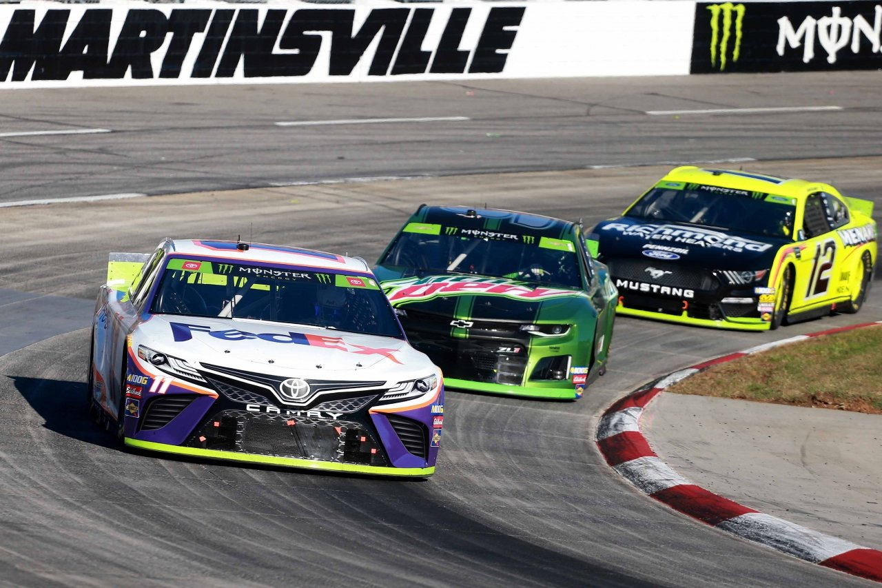Denny Hamlin and Chase Elliott at Martinsville Speedway - NASCAR
