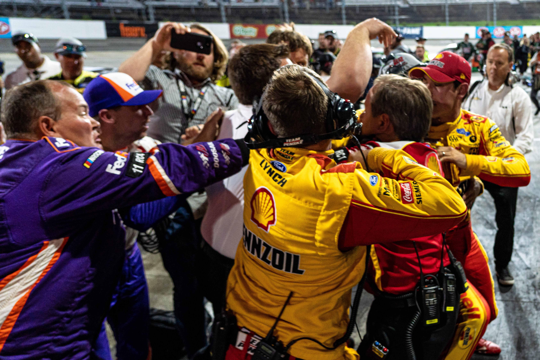 Joey Logano and Denny Hamlin altercation at Martinsville Speedway - NASCAR