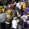 Joey Logano and Denny Hamlin fight at Martinsville Speedway - NASCAR