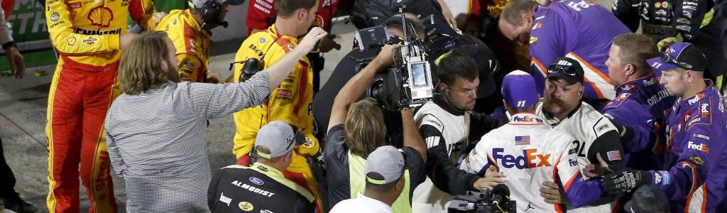 Joey Logano, Denny Hamlin get into altercation after NASCAR race at Martinsville Speedway (Video)