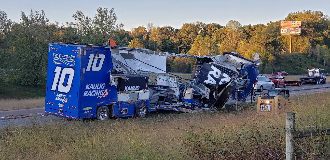One NASCAR team hauler crashes; Another catches fire en route to Kansas Speedway