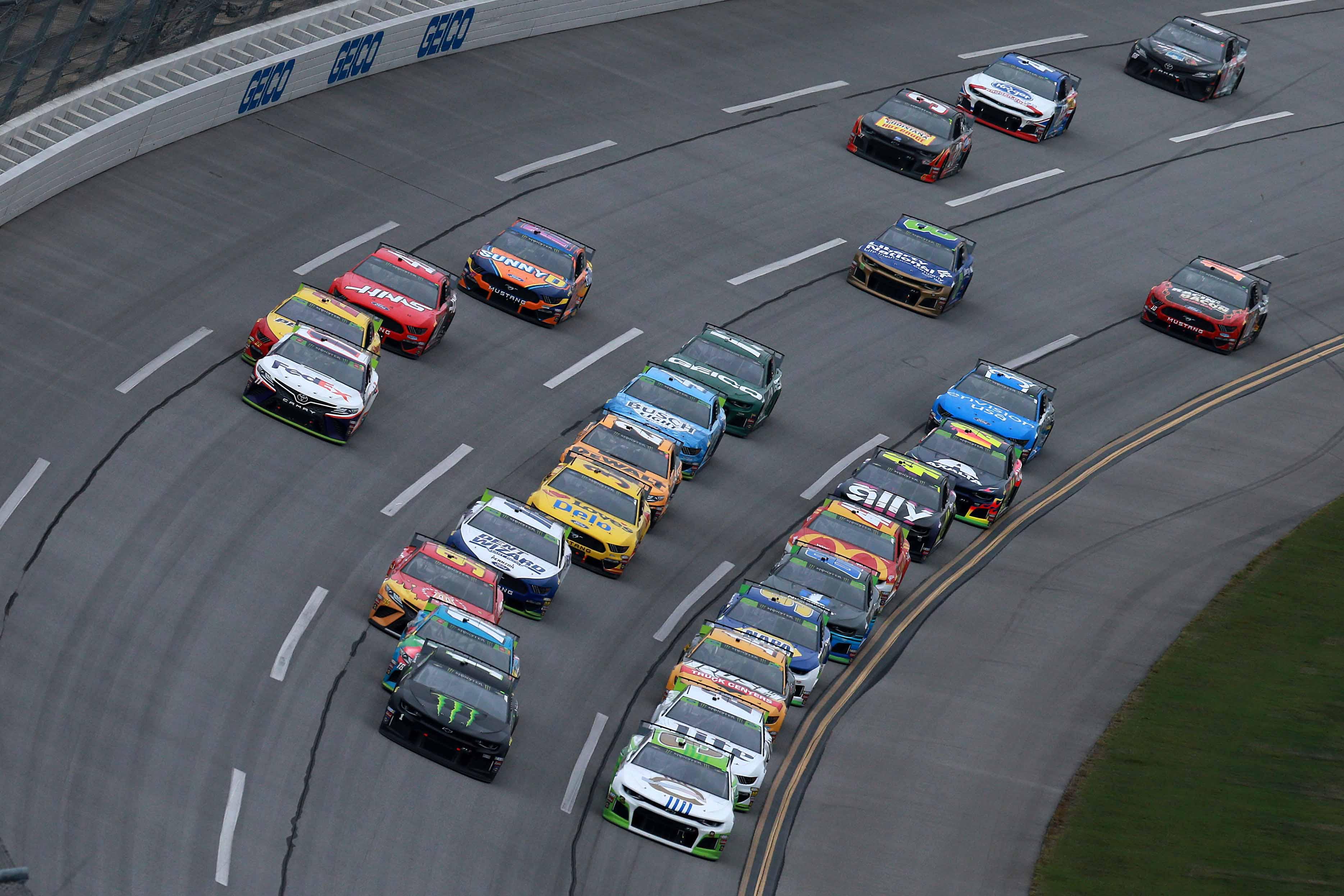 Kurt Busch and Austin Dillon lead the NASCAR race at Talladega Superspeedway