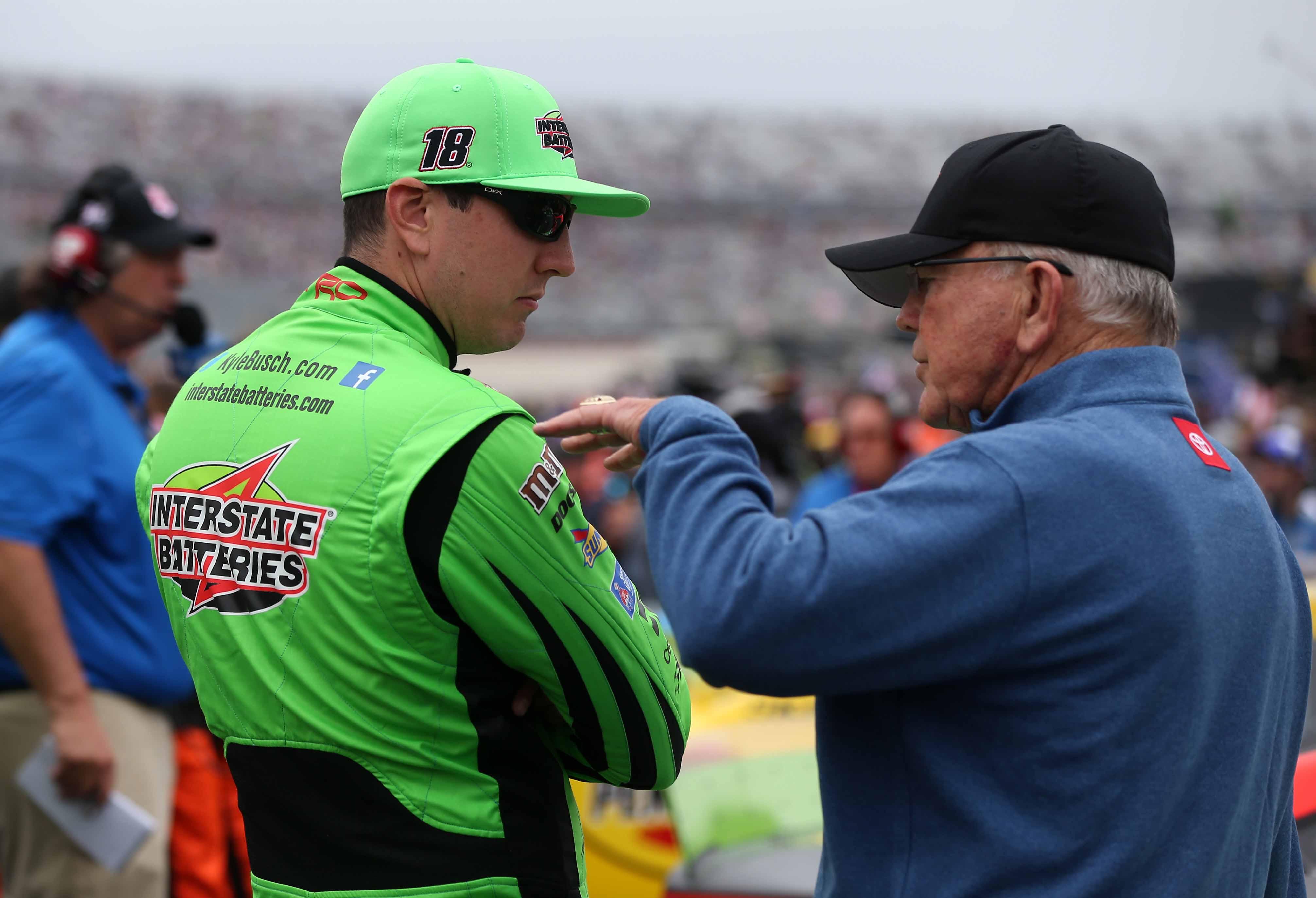 Kyle Busch and NASCAR team owner Joe Gibbs