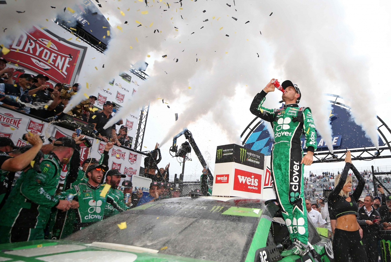 Kyle Larson in NASCAR victory lane at Dover International Speedway