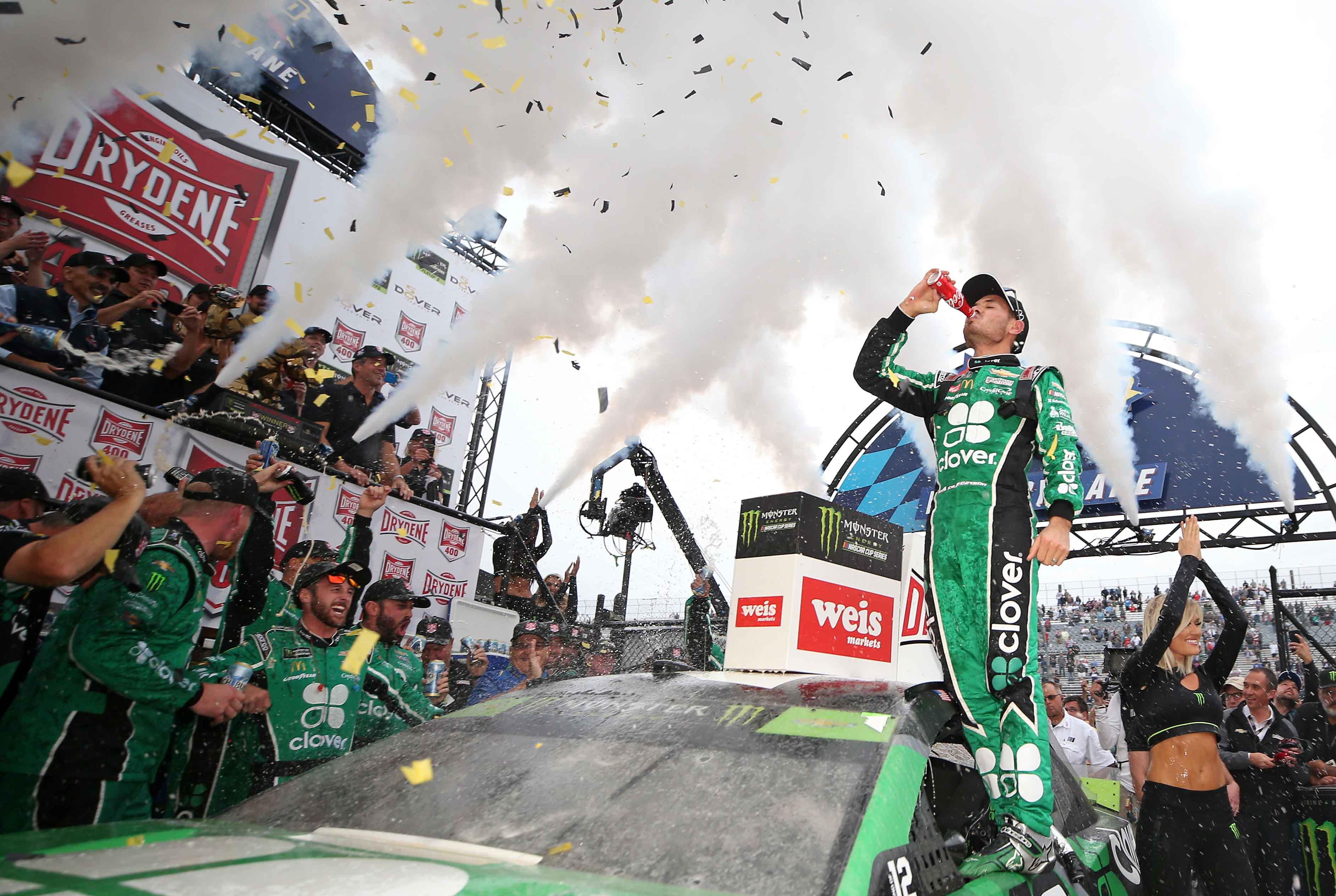 Kyle Larson in NASCAR victory lane at Dover International Speedway