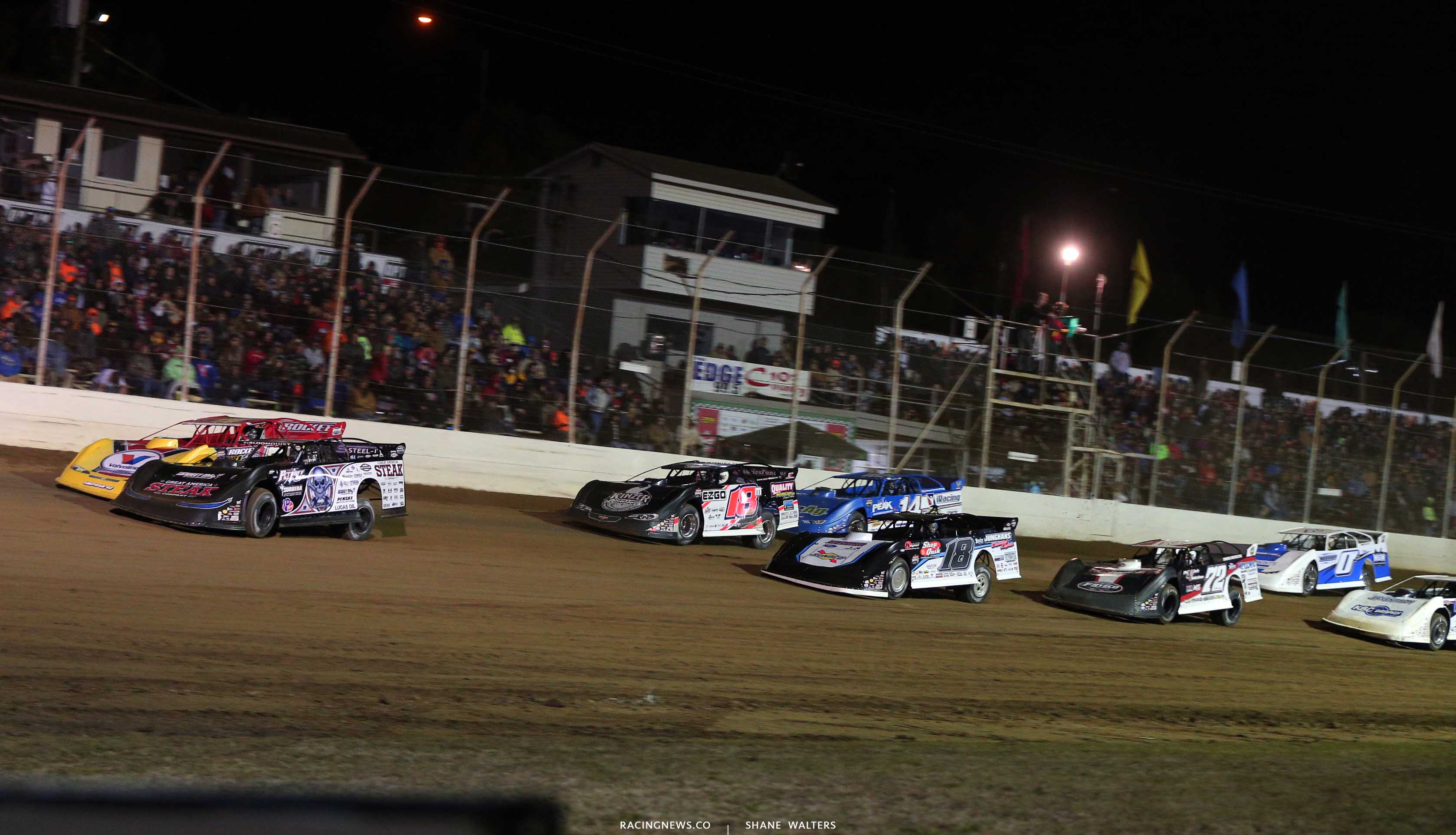 Scott Bloomquist, RJ Conley, Chase Junghans, Dale McDowell and Josh Richards at Portsmouth Raceway Park - LOLMDS 8981