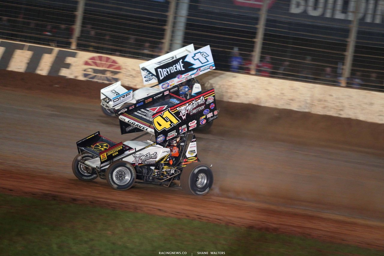 David Gravel and Jacon Allen on The Dirt Track at Charlotte - World of Outlaws Sprint Cars 1102