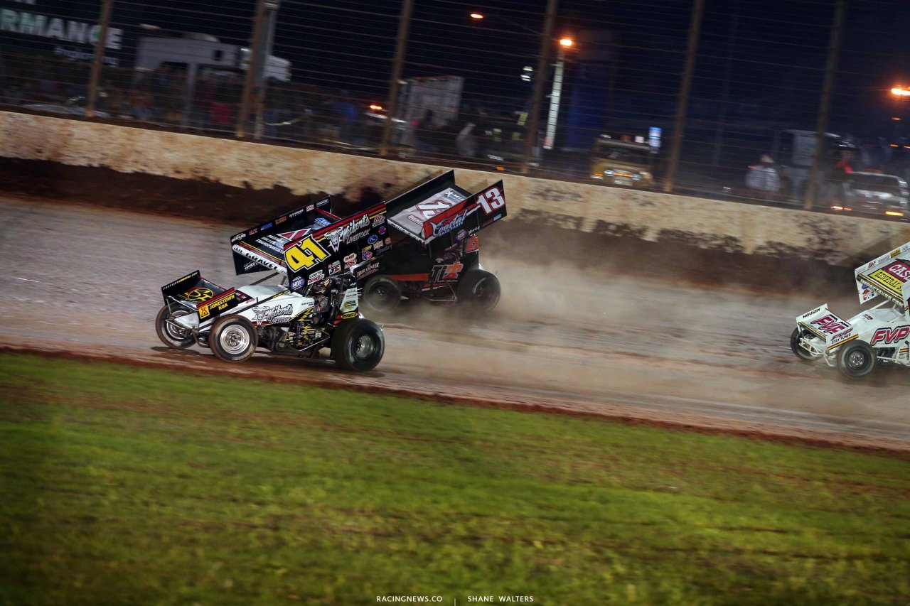 David Gravel and Paul McMahan on the Dirt Track at Charlotte - World of Outlaws Sprint Cars 0646