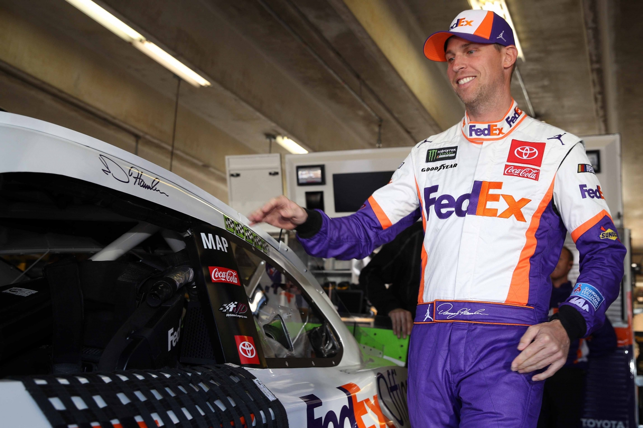 Denny Hamlin in the NASCAR garage area at Texas Motor Speedway