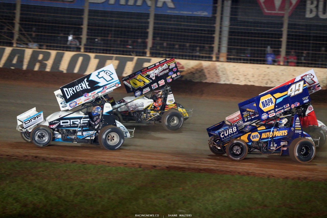 Jacob Allen, David Gravel and Brad Sweet on The Dirt Track at Charlotte - World of Outlaws Sprint Car Series 1089