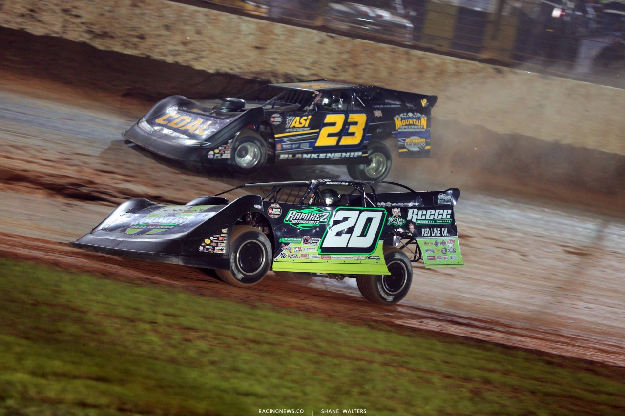 Jimmy Owens and John Blankenship on The Dirt Track at Charlotte - World of Outlaws Late Model Series 1214