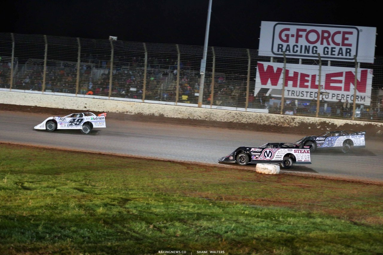 Jonathan Davenport, Chris Madden and Scott Bloomquist on The Dirt Track at Charlotte - World of Outlaws Late Model Series 0522
