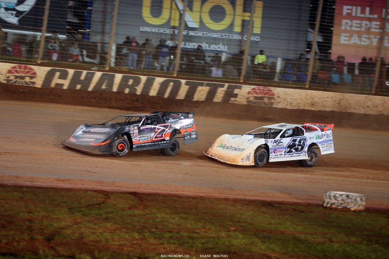 Ricky Weiss and Jonathan Davenport on The Dirt Track at Charlotte - WOOLMS 1297