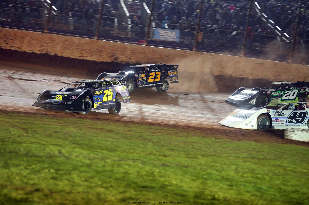 Shane Clanton, John Blankenship, Jonathan Davenport and Jimmy Owens on The Dirt Track at Charlotte - World of Outlaws Late Models 1192
