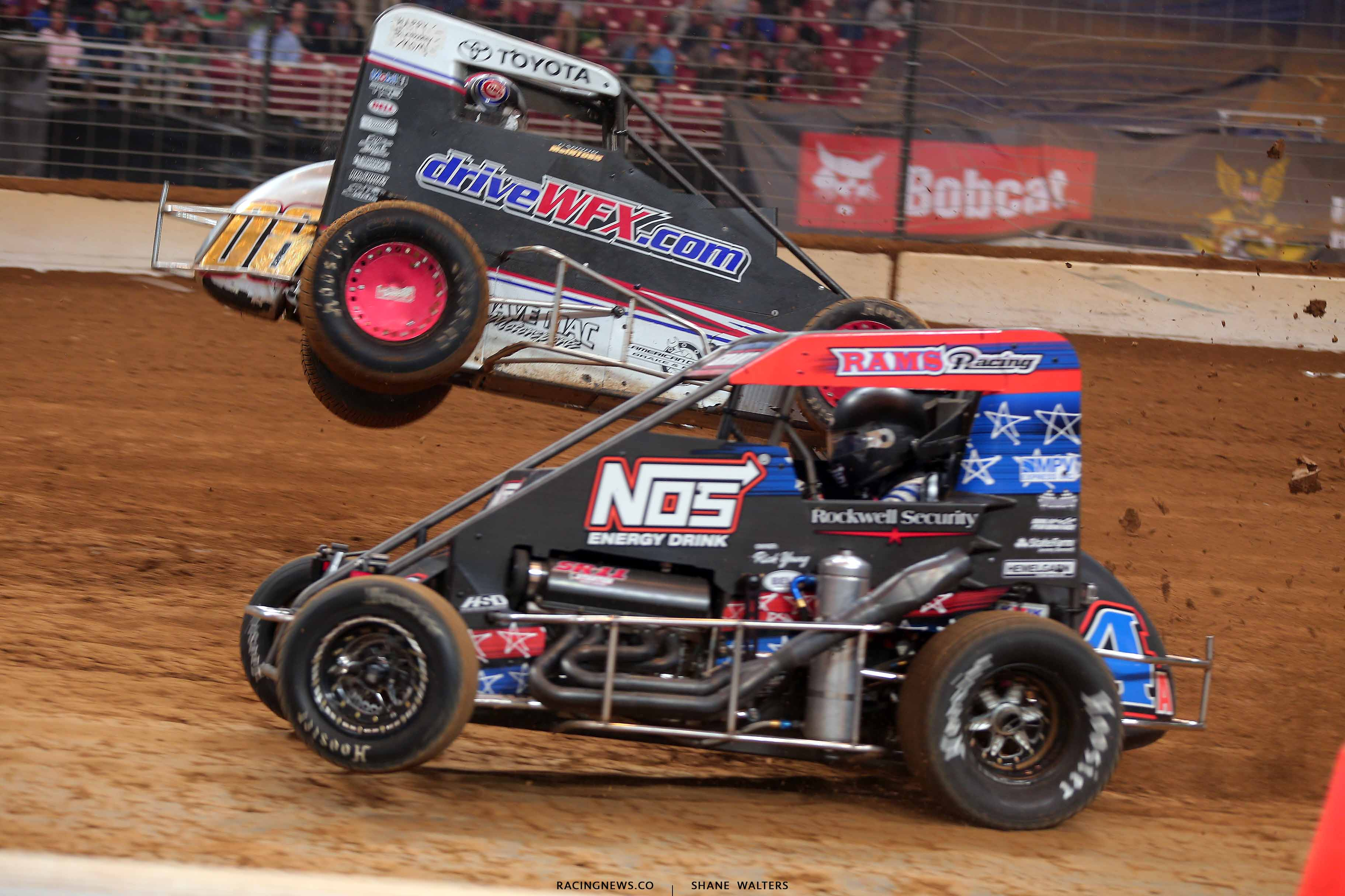 Cannon McIntosh flips in the Gateway Dirt Nationals - Dirt Midgets 2747