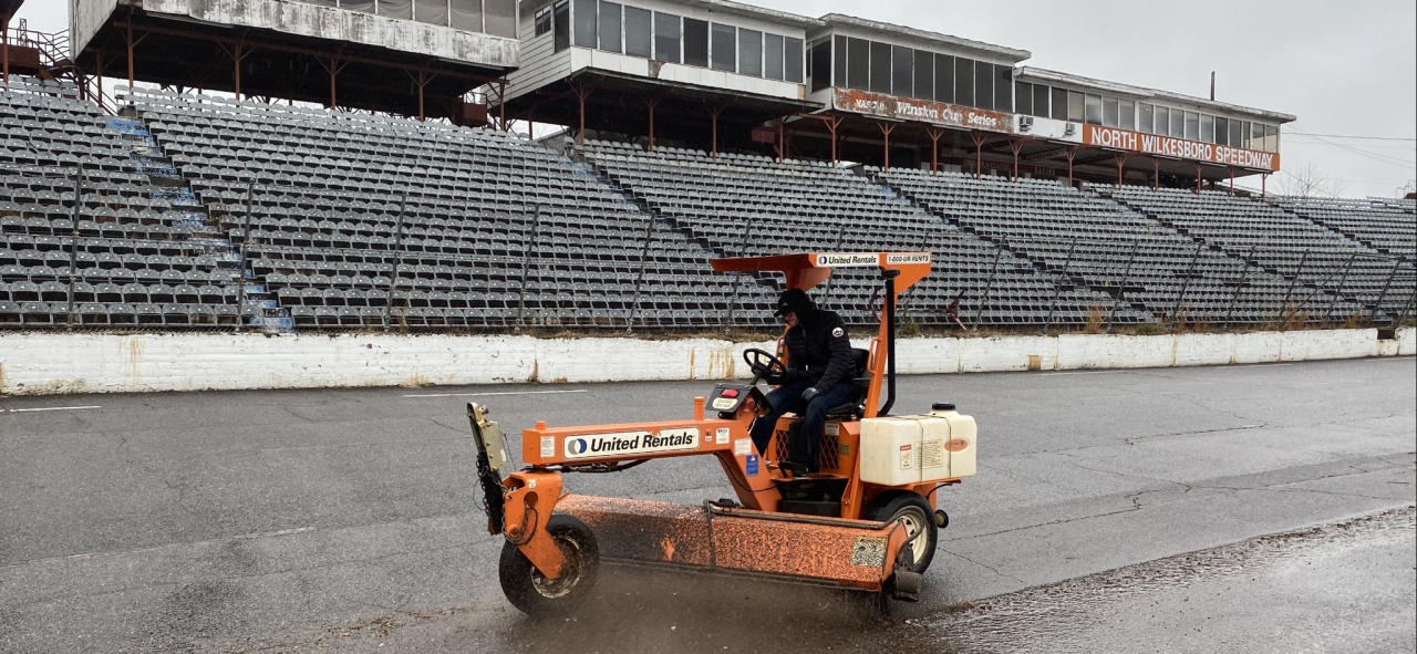 Dale Earnhardt Jr on a sweeper at North Wilkesboro Speedway