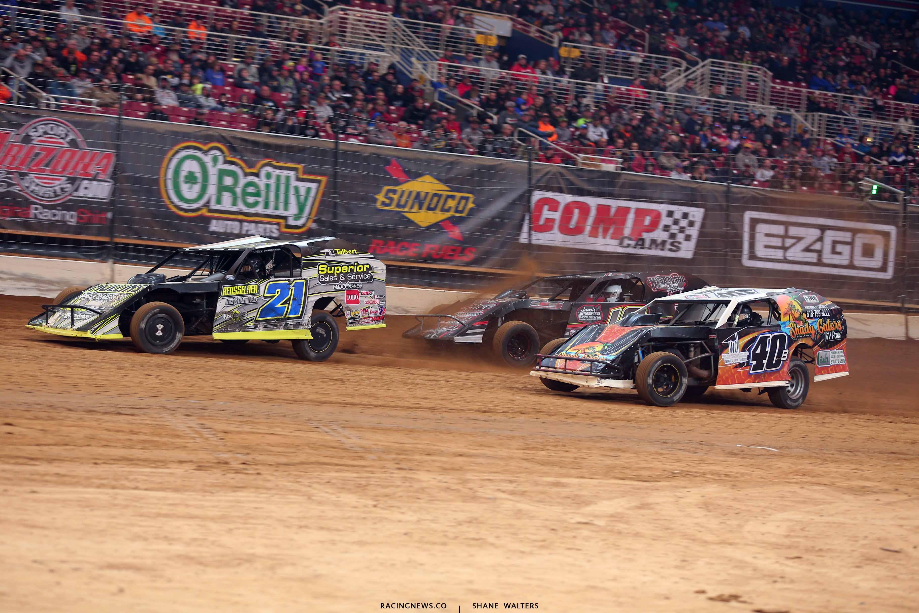 Derek Losh, Kyle Bronson and Michael Long in the Gateway Dirt Nationals - Dirt Modified 2849