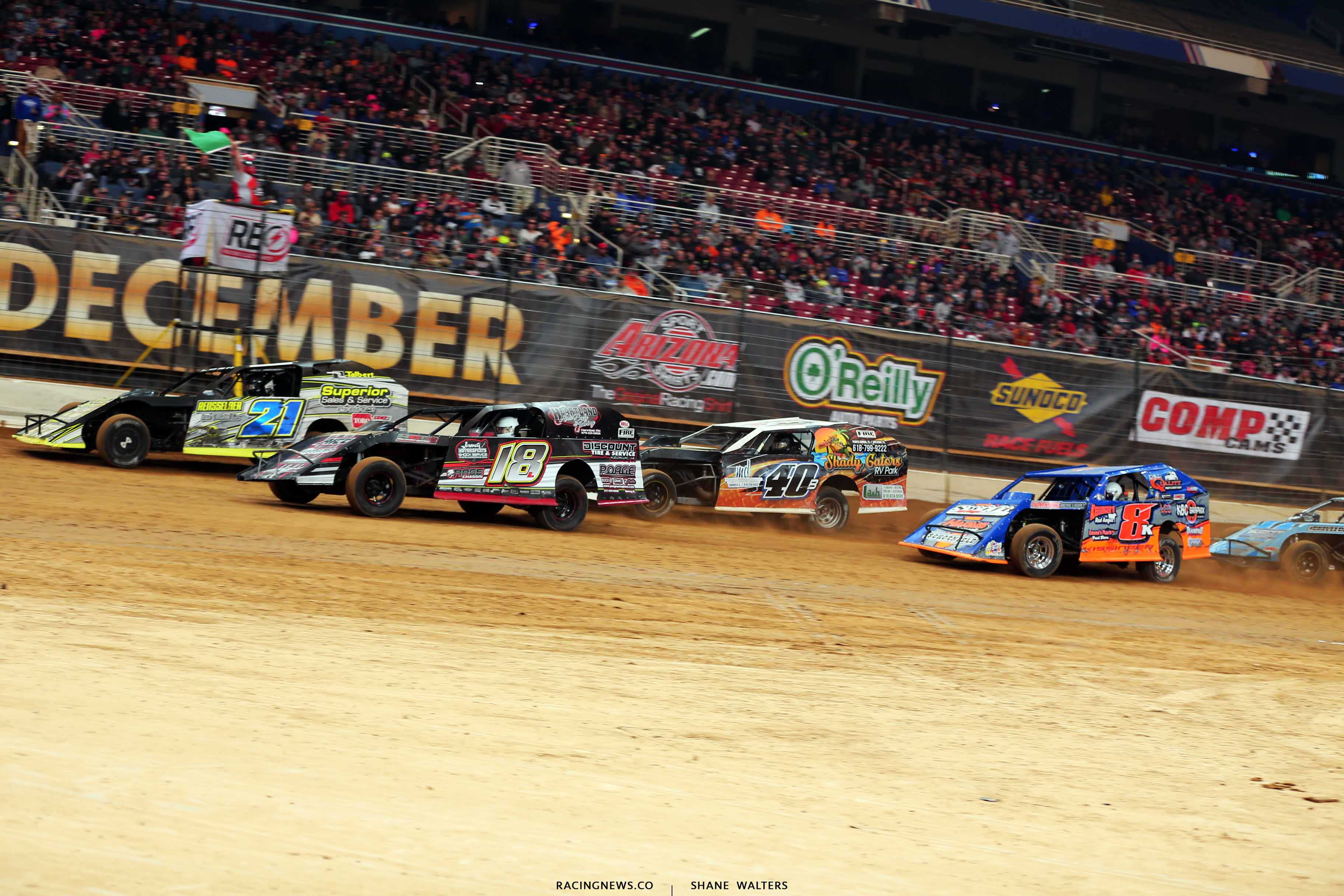 Derek Losh, Michael Long and Kyle Bronson in the Gateway Dirt Nationals - Dirt Modifieds 2813