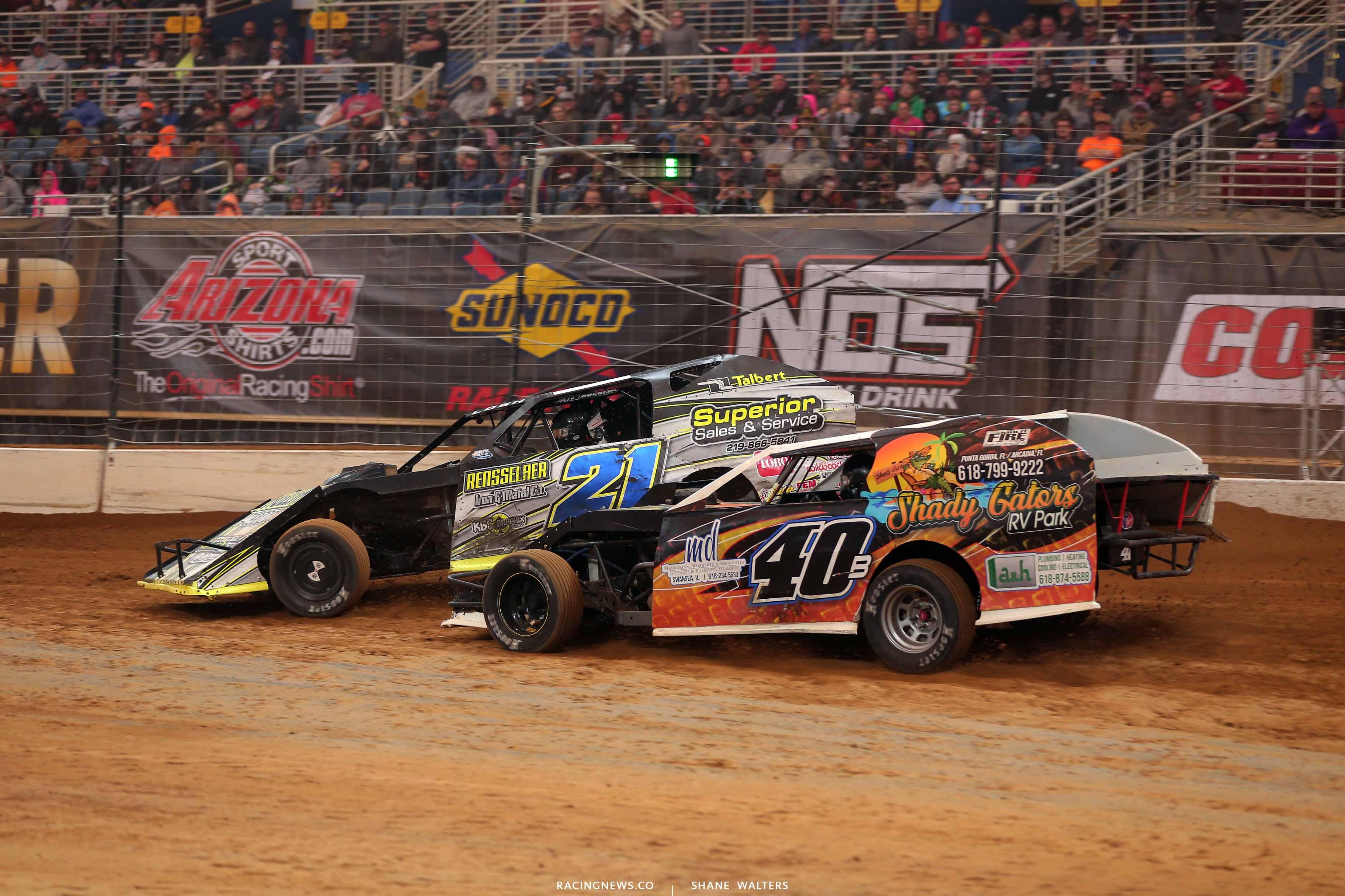 Derek Losh and Kyle Bronson in the Gateway Dirt Nationals - Dirt Modifieds 2899