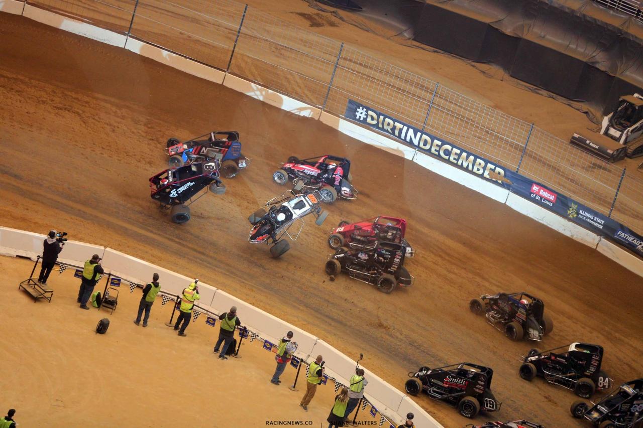 Jonathan Beason and Clinton Boyles flip in the Gateway Dirt Nationals - Dirt Midgets 2226