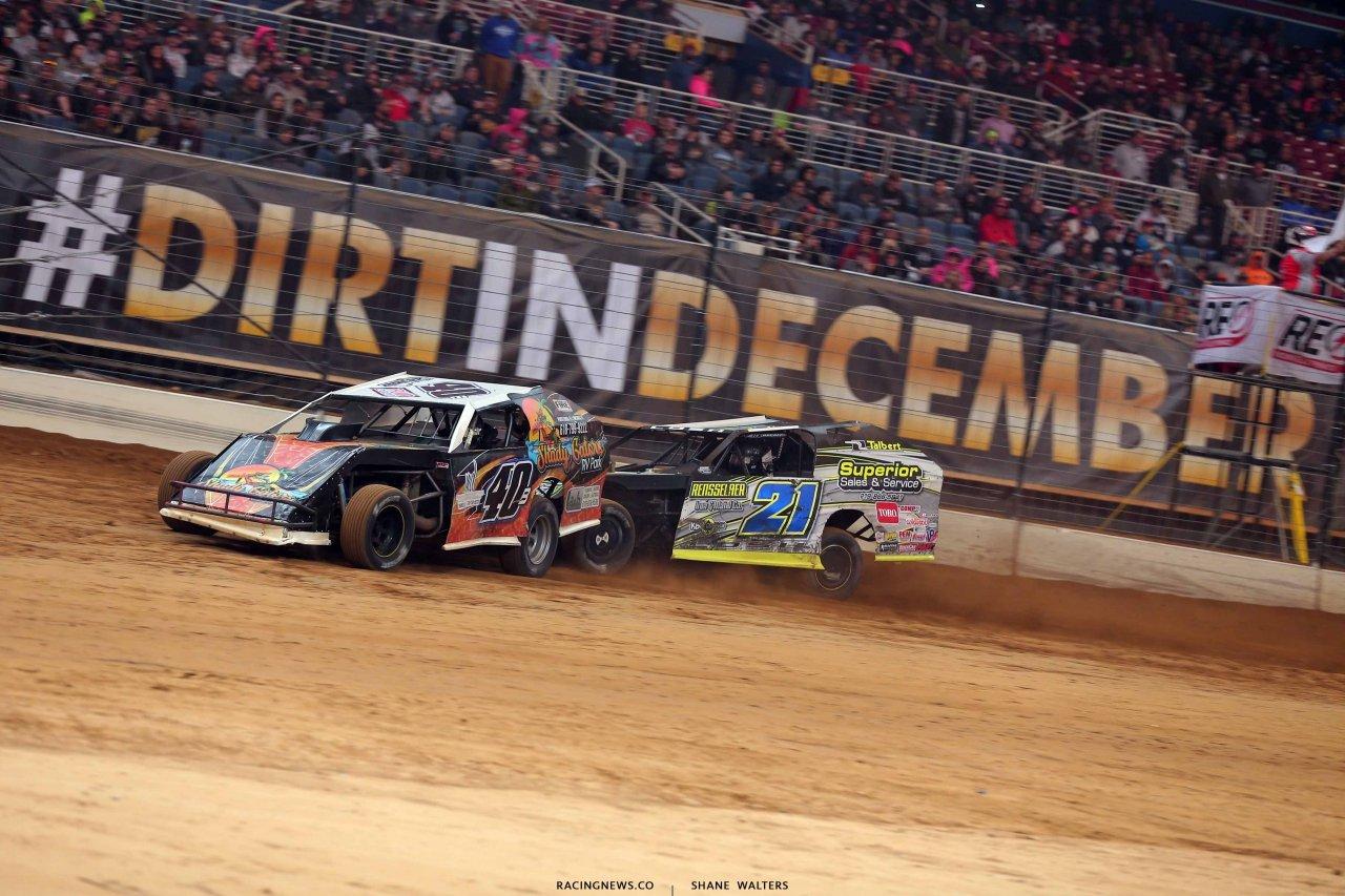Kyle Bronson and Derek Losh in the Gateway Dirt Nationals - Dirt Modifieds 2936