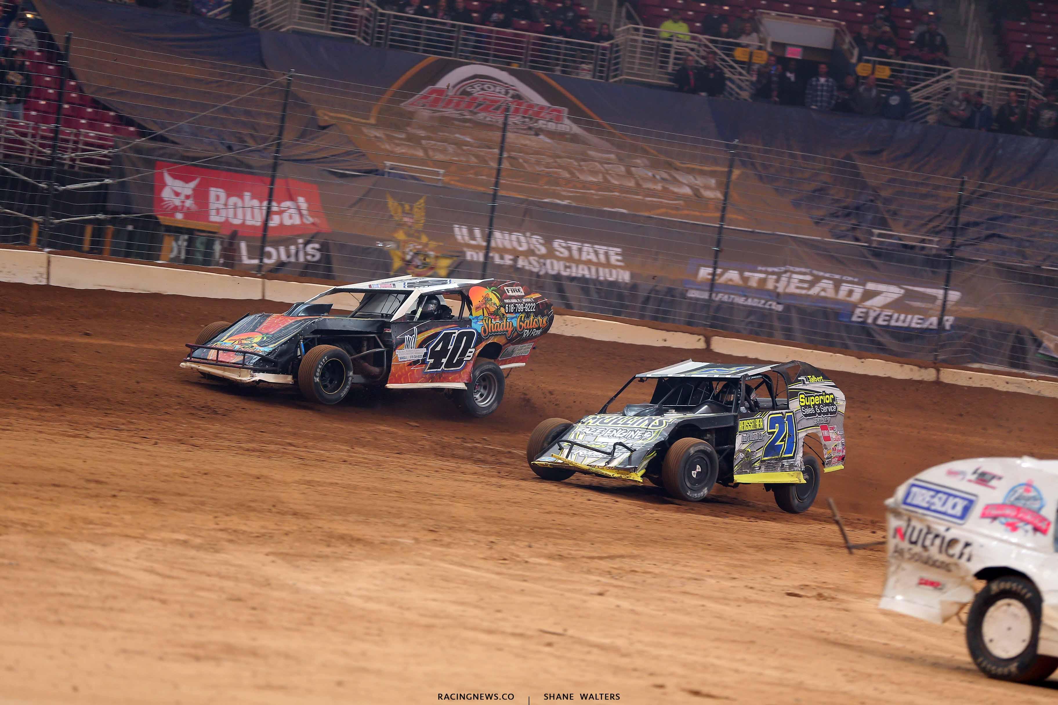 Kyle Bronson and Derek Losh in the Gateway Dirt Nationals - Dirt Modifieds 2952
