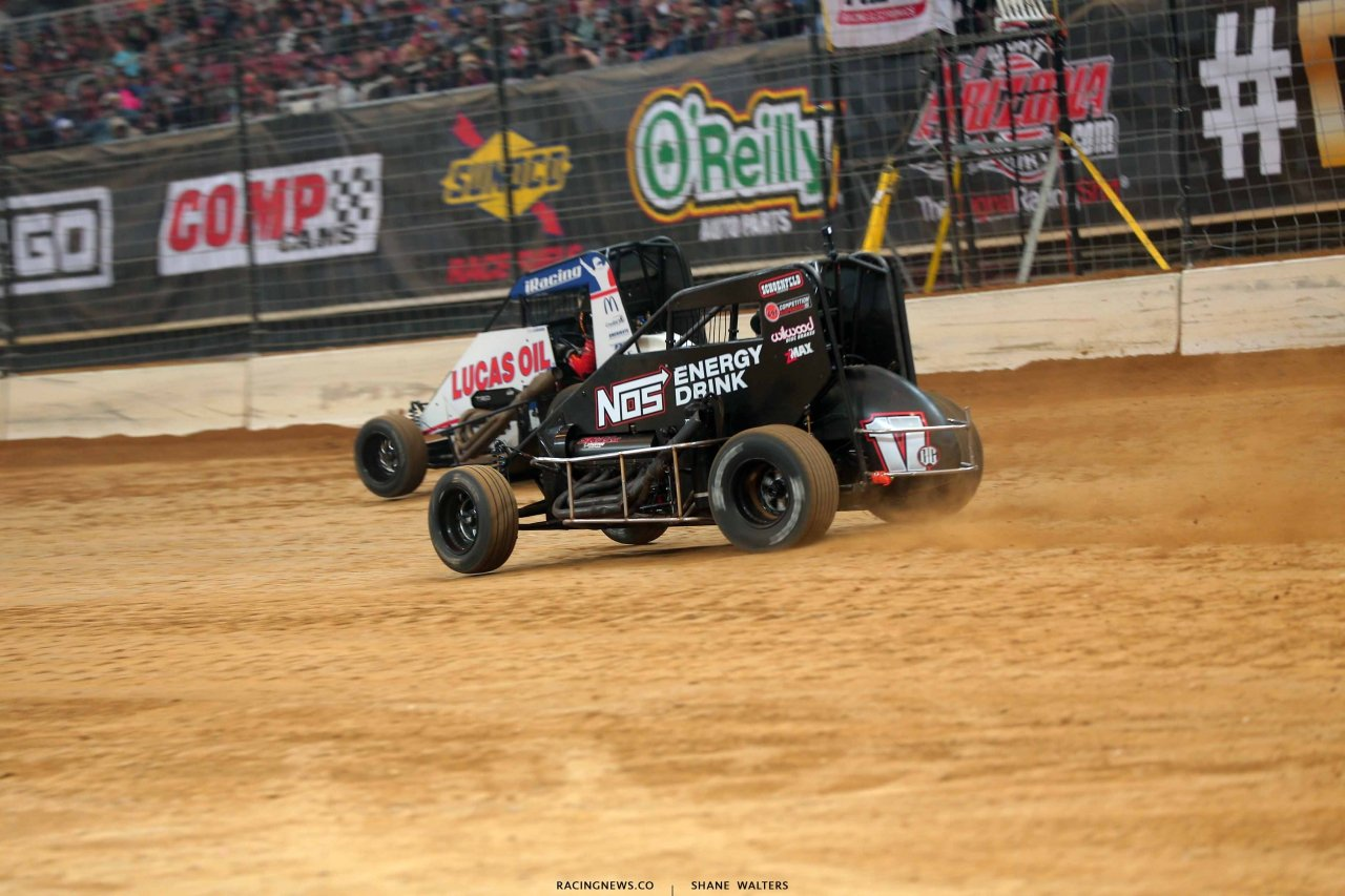 Kyle Larson and Chris Windom in the Gateway Dirt Nationals - Dirt Midgets 2796