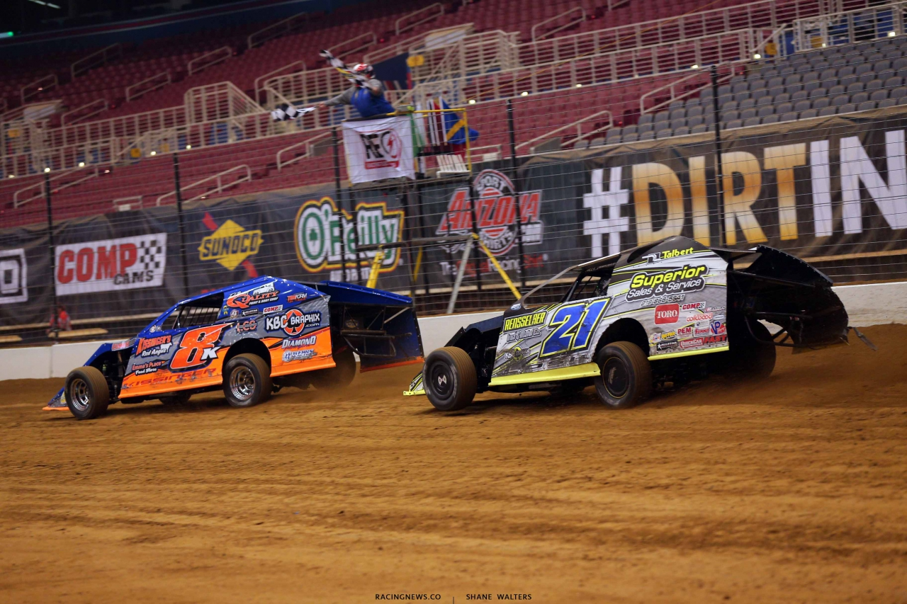 Levi Kissinger and Derek Losh in the Gateway Dirt Nationals - Dirt Modifieds 2171