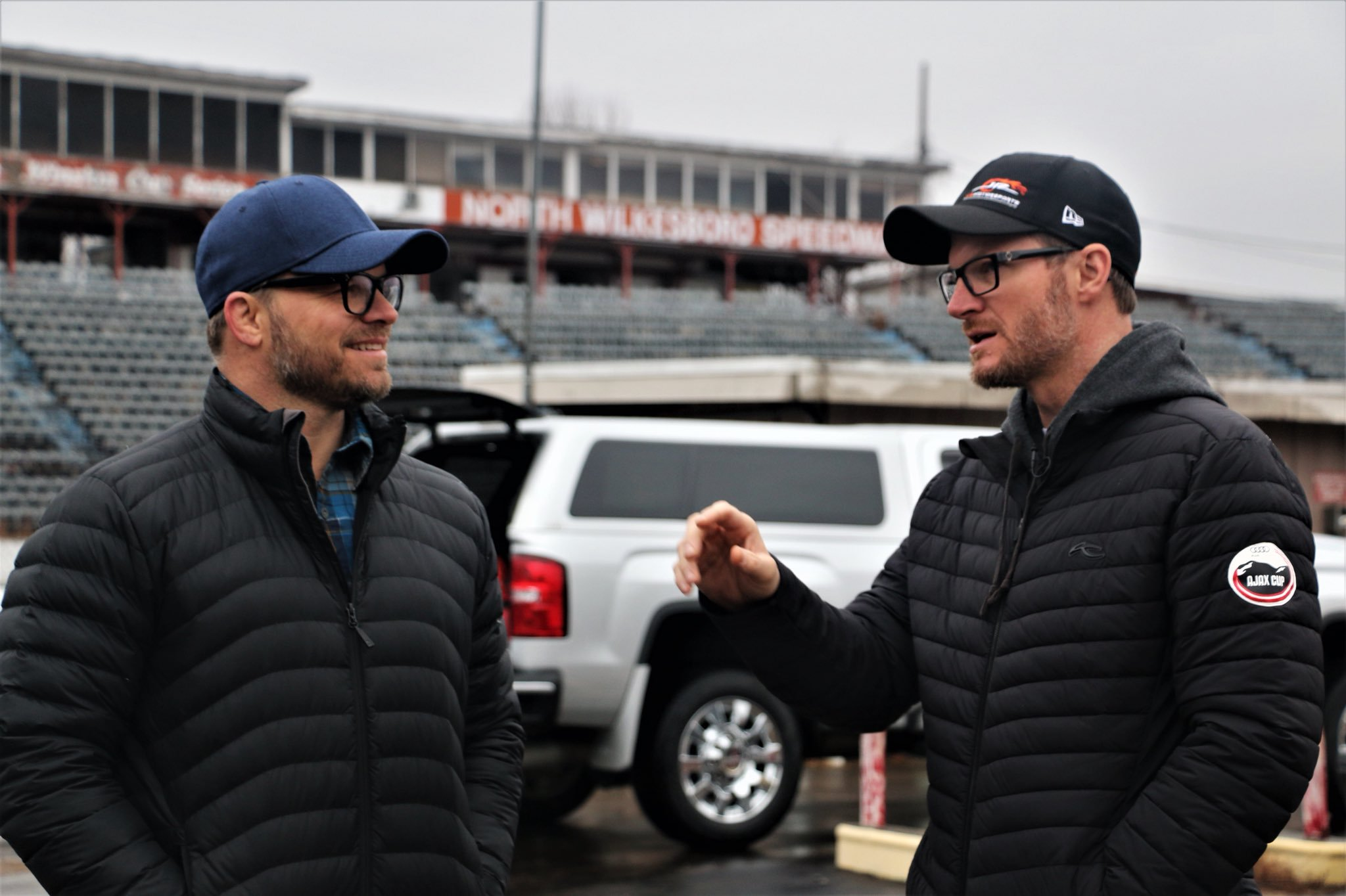 Marcus Smith and Dale Earnhardt Jr at North Wilkesboro