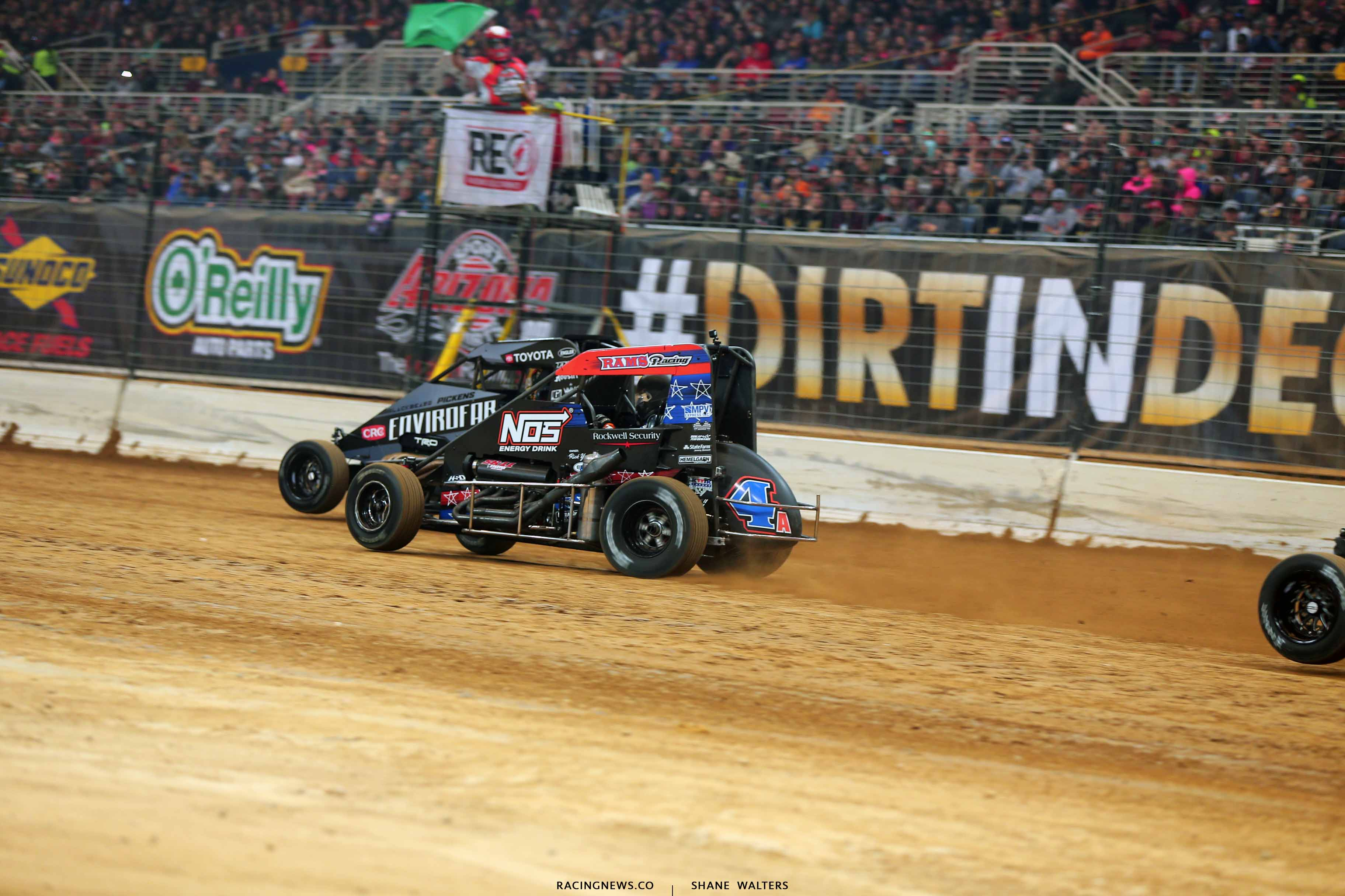 Michael Pickens and Justin Grant in the Gateway Dirt Nationals - Dirt Modifieds 2685