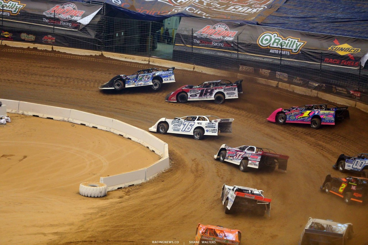 Patrik Daniel, Shannon Babb, Blair Northdurft and Rusty Schlenk in the Gateway Dirt Nationals - Dirt Late Models 2422
