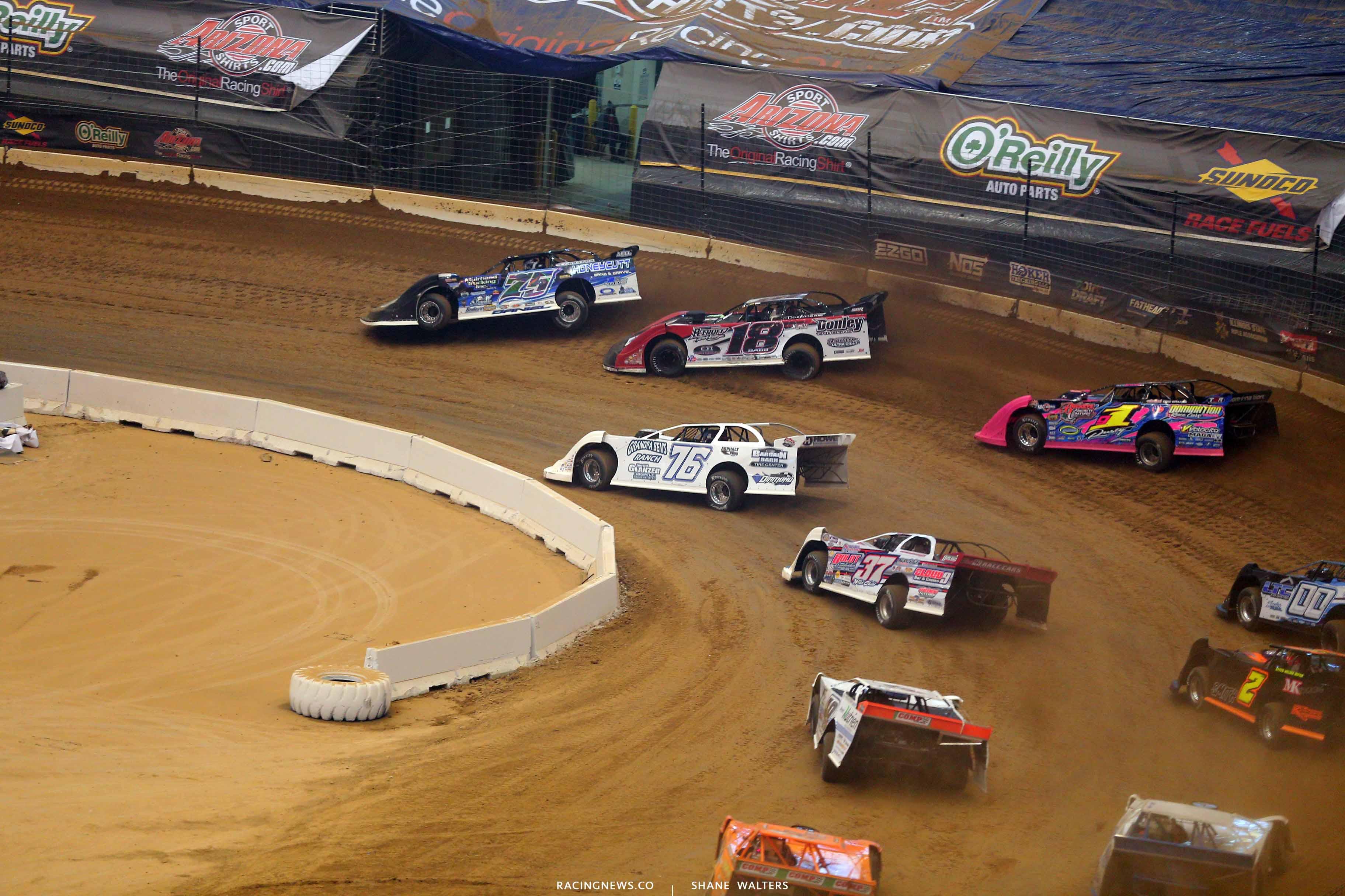 Patrik Daniel, Shannon Babb, Blair Northdurft and Rusty Schlenk in the Gateway Dirt Nationals - Dirt Late Models 2422