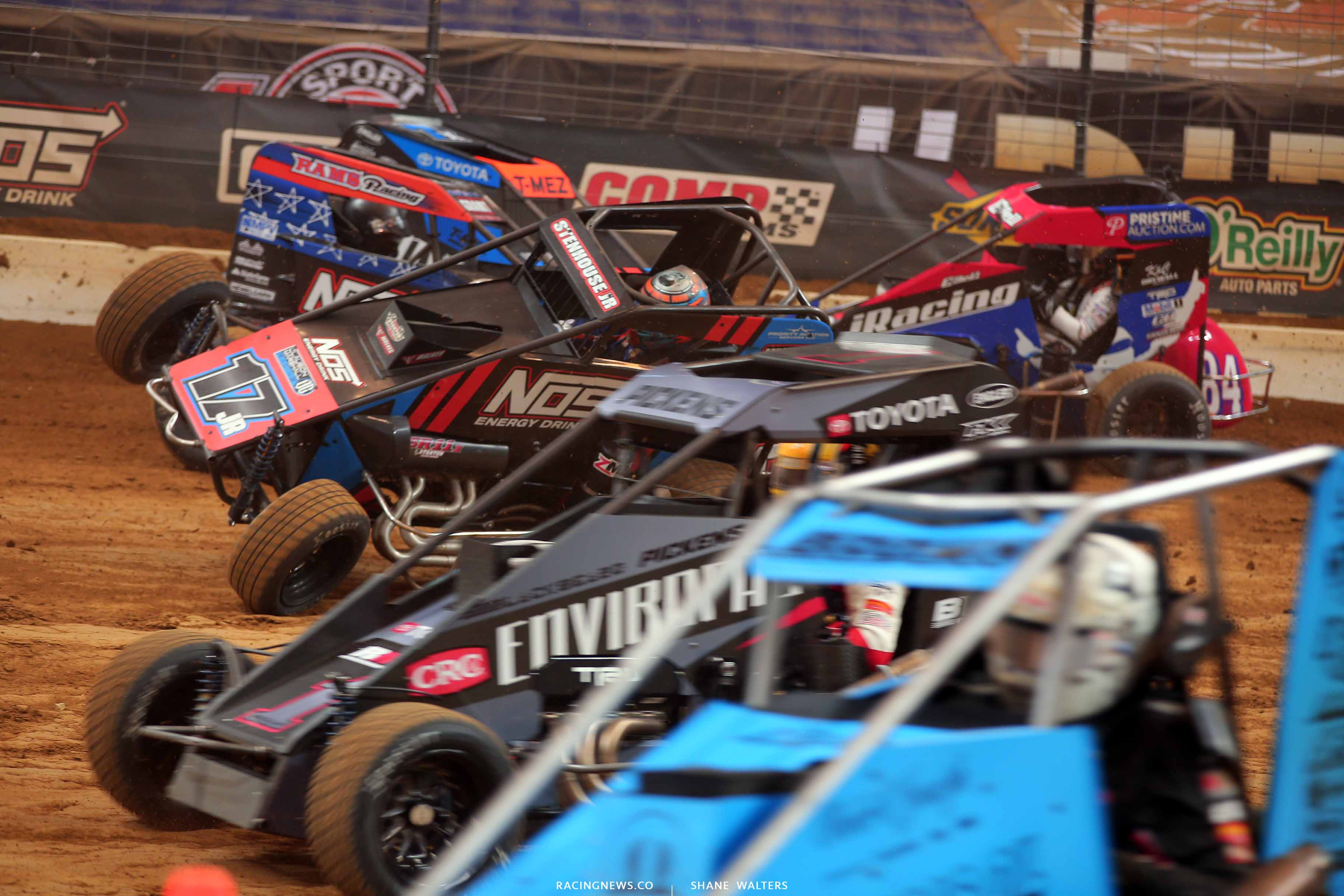 Ricky Stenhouse Jr rolls by a crash in the Gateway Dirt Nationals - Dirt Midgets 2779