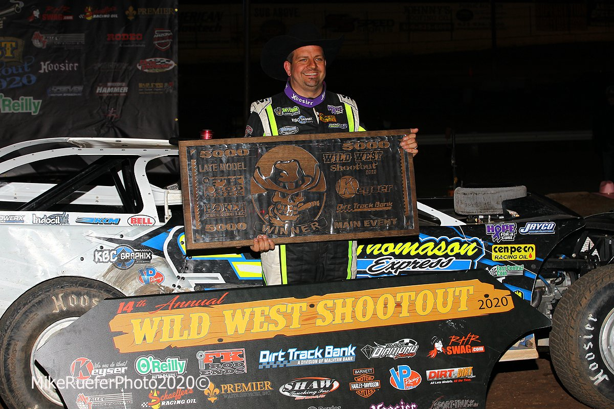Brian Shirley in victory lane in the Wild West Shootout