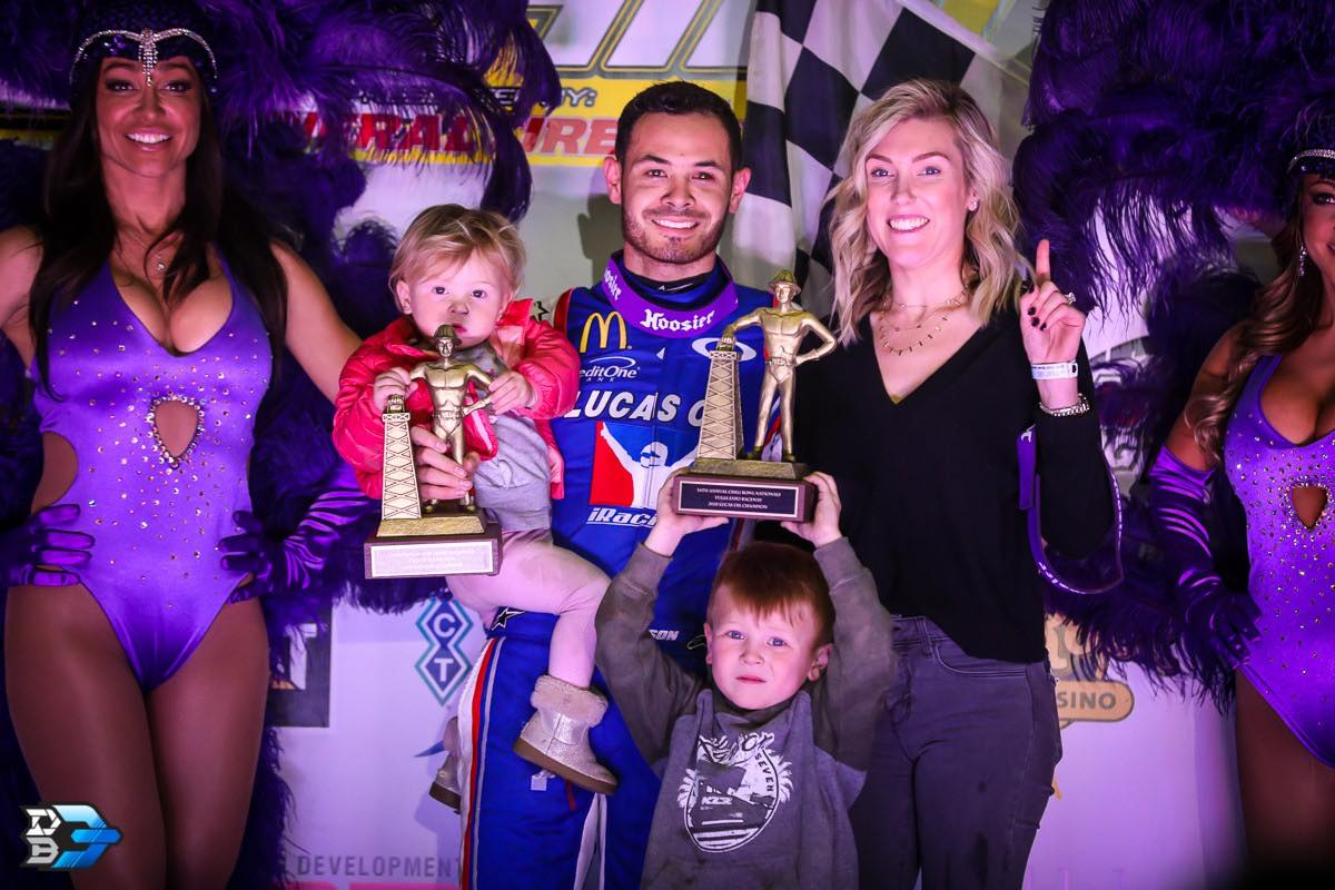 Kyle Larson and his wife Katelyn Larson is Chili Bowl victory lane