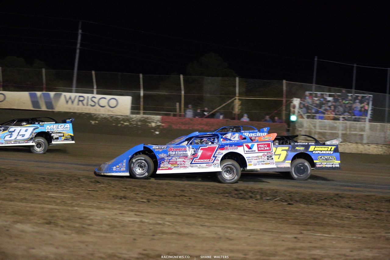 Brandon Sheppard, Shane Clanton and Josh Richards at East Bay Raceway Park - Lucas Dirt 5184