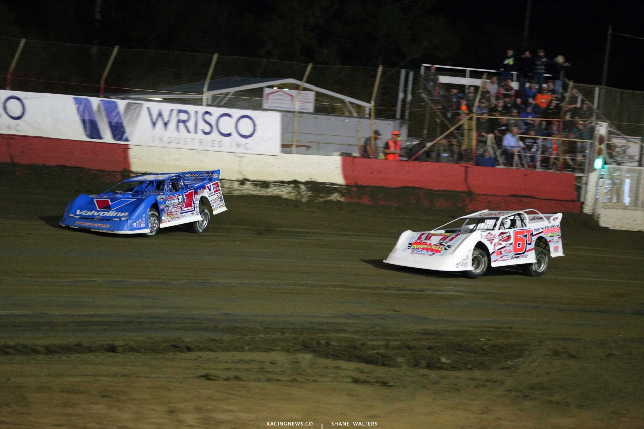 Brandon Sheppard and Tim Dohm at East Bay Raceway Park - Dirt Late Models 3893