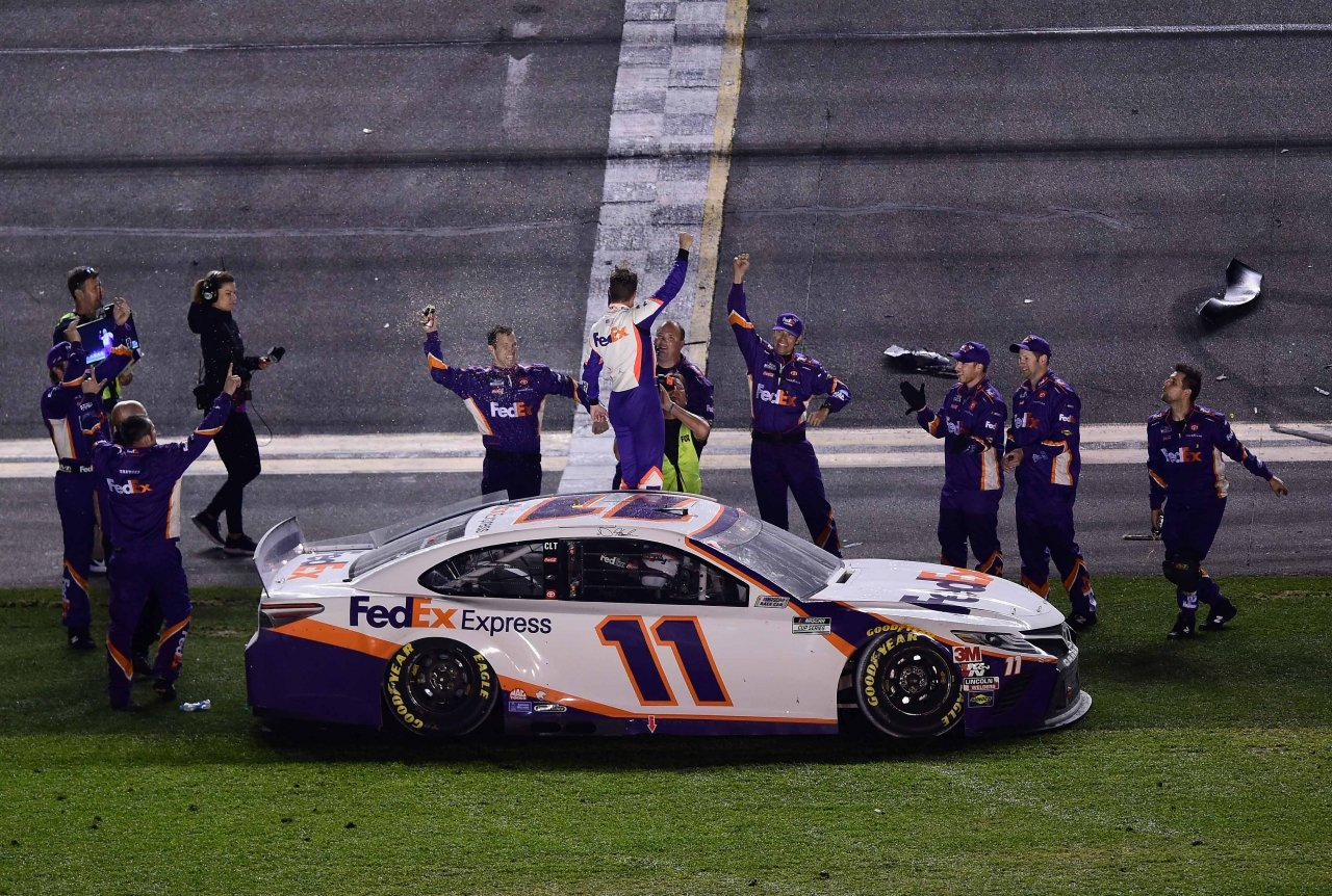 Denny Hamlin was unaware of the Ryan Newman situation while celebrating Daytona 500 win - Racing News