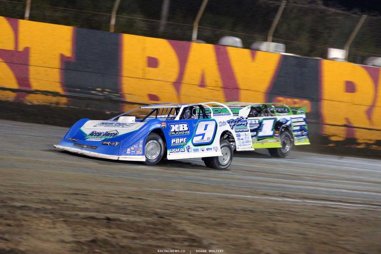 Devin Moran and Tyler Erb at East Bay Raceway Park - Lucas Oil Late Model Dirt Series 3792