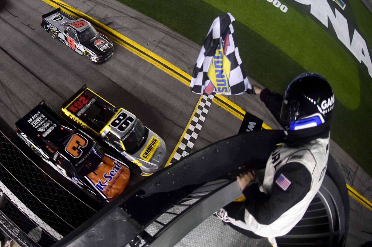 Grant Enfinger and Jordan Anderson at Daytona International Speedway - NASCAR Truck Series