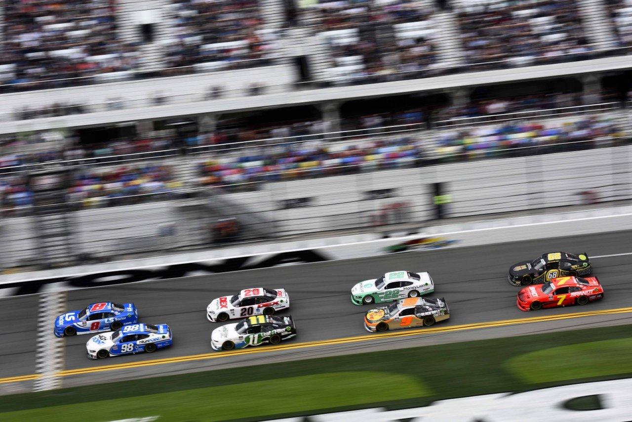 Jeb Burton leads the NASCAR Xfinity Series at Daytona International Speedway