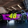 Jimmie Johnson in the NASCAR garage area at Daytona