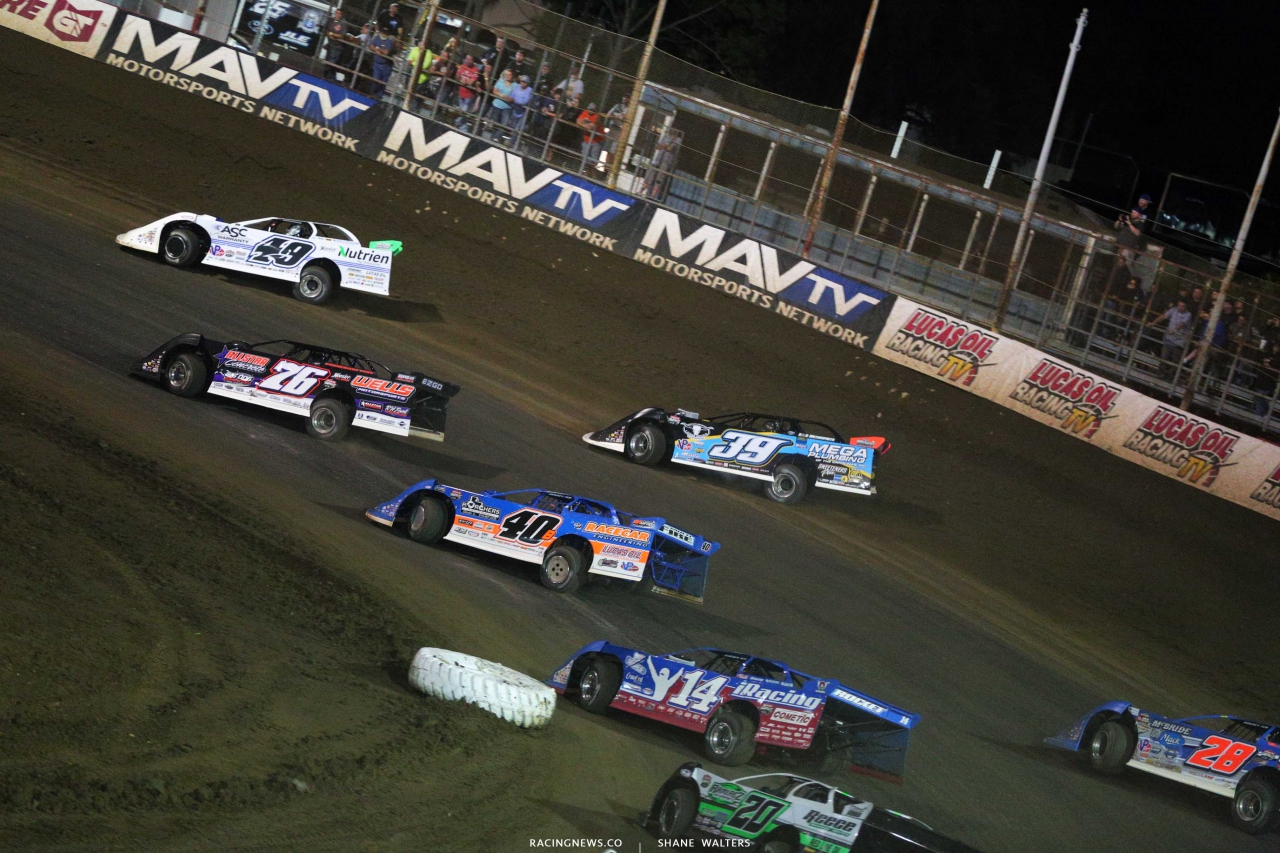 Jonathan Davenport, Brandon Overton, Tim McCreadie, Kyle Bronson and Josh Richards at East Bay Raceway Park - Dirt Late Models 4148