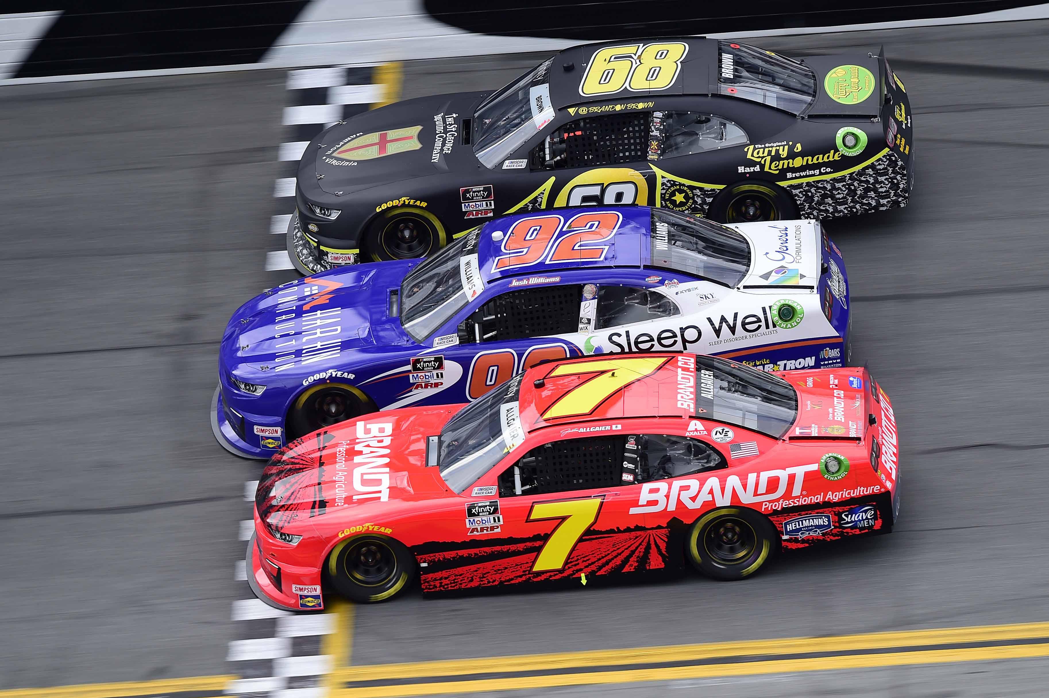 Justin Allgaier, Josh Williams and Brandon Brown - NASCAR Xfinity Series - Daytona