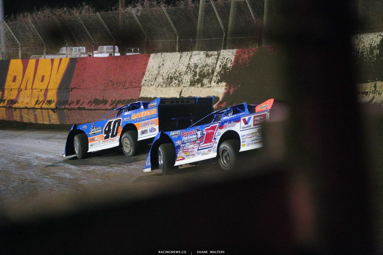 Kyle Bronson and Brandon Sheppard at East Bay Raceway Park - Dirt Late Model Racing 4994